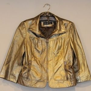 Guess Gold Leather Jacket
